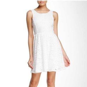 NWT LUSH White Lace Sleeveless Skater Dress